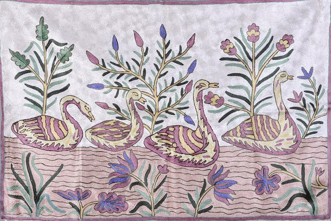 Ivory Asana Mat with Embroidered Ducks on Water Made of lightweight eco friendly…