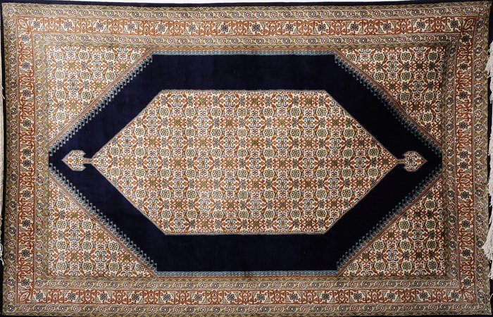 Navy Blue Carpet from Kashmir with Knotted Flowers All Over The charm of Kashmir…