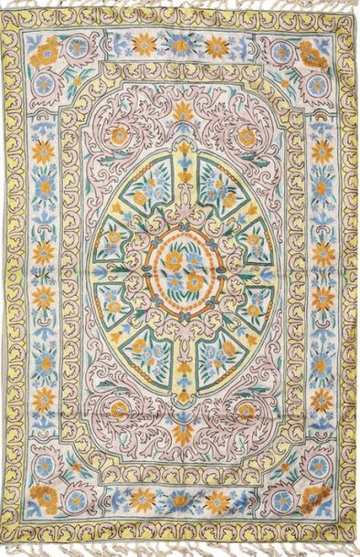 White and Green Floral Embroidered Aasana Mat from Kashmir with Mughal Design An…