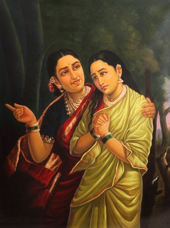 A Mother Consoling Her Newly Wedded Daughter Specifications:  Oil Painting on Ca…