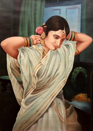 Lady Dressing Herself Indian artists are known for the realistic effect in all t…
