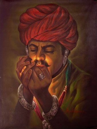 The Wealthy Smoker Adorned with a blood red Rajhistani pheta turban, the swarthy…