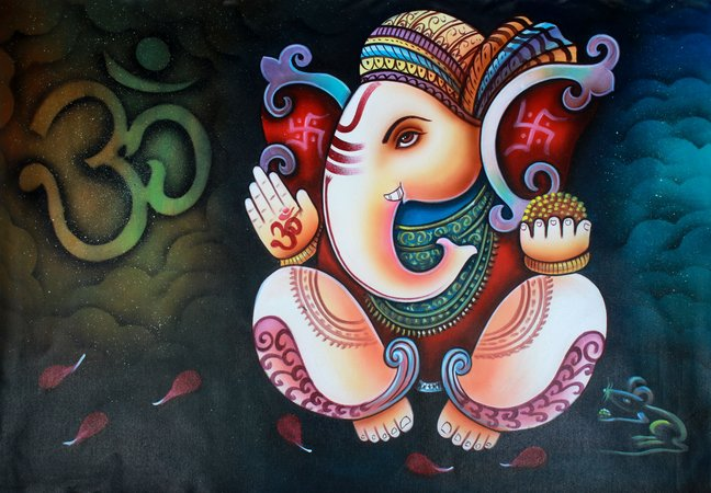 Blessing Lord Ganesha Specifications:  Oil and Acrylic on Canvas  37 inch x 25.5…