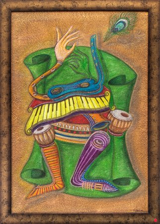 Krishna Made of Musical Instruments (Framed) Specifications:  Acrylic Painting o…