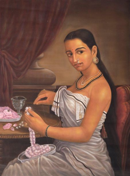 A Young Woman Making Garland of Flowers Specifications:  Oil on Canvas  21 inche…