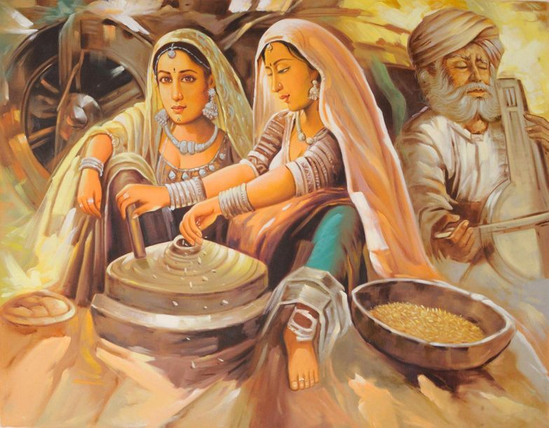 Banjaras: A Nomadic Tribe of Rajasthan Specifications:  Oil Painting on Canvas  …