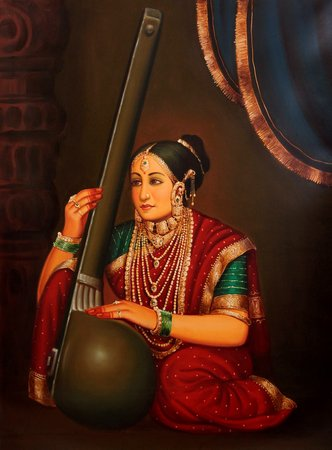 Rich Lady Playing a Tanapura Specifications:  Oil Painting on Canvas  Artist: An…