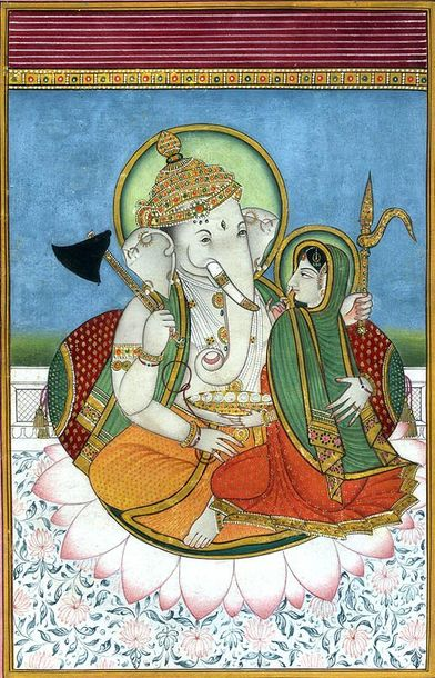 Shri Ganesha with His Shakti Specifications:  Water Color on Paper  Artist: Navn…