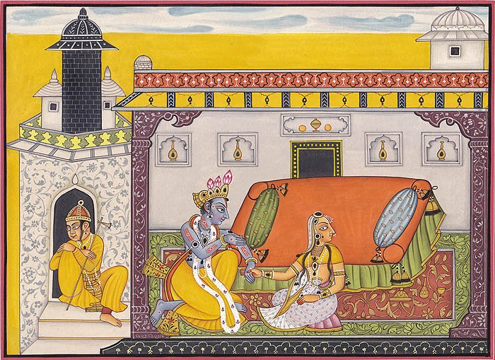 Krishna Pursuing Heroine (A Folio from Nayika Bheda ) Specifications:  Water Col…