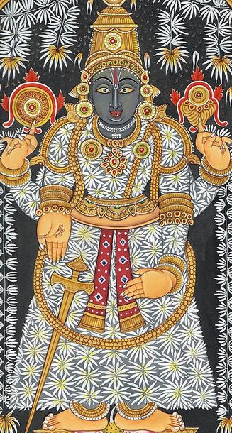 Lord Venkateshvara as Balaji with a Devotee Specifications:  Watercolor on Paper…