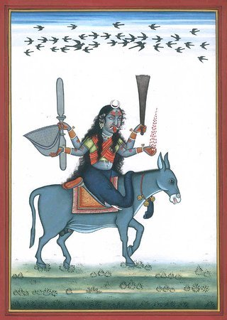 Goddess Shitala Mata Who Cures Chickenpox Specifications:  Watercolor on Paper  …