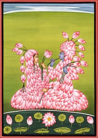 Radha Krishna the Lotus Lovers Specifications:  Water Color Painting On Paper  A…
