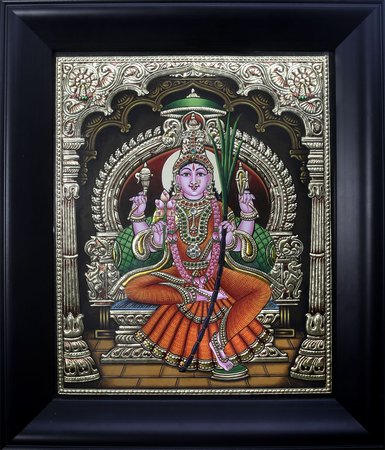 Goddess Rajarajeshvari (Framed) Framed elaborately, this Tanjore painting is mad…