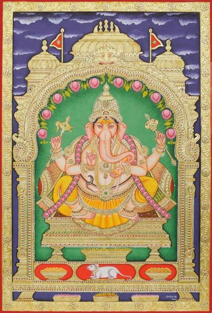 Lord Ganapati, The God of Auspiciousness The painting, an excellent example of T…