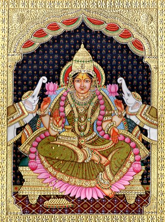 Devi Lakshmi, The Picture Of Plenty Tanjore art comprises of spiritual themed pa…