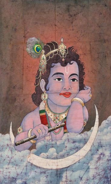 The Watchful Gaze Of Lord Gopala This painting shows a colourful picturesque of …
