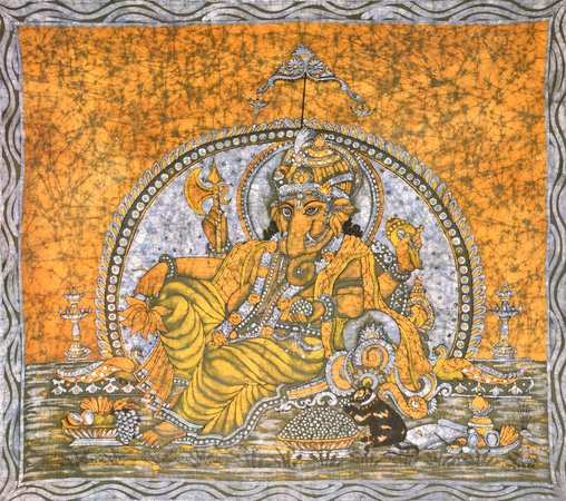 Enthroned Ganesha Specifications:  Batik Painting On Cotton  3.7 ft x 3.1 ft    …