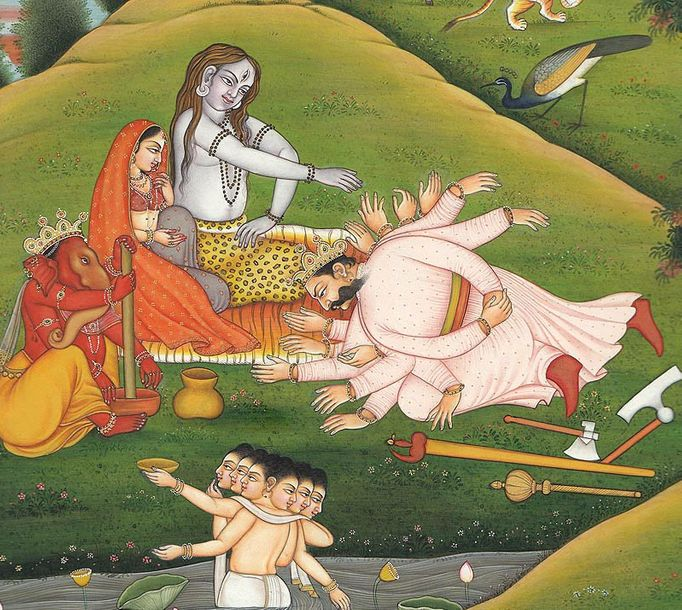 Bana Prostrating at Shiva's Feet Specifications:  Water Color Painting on Paper …