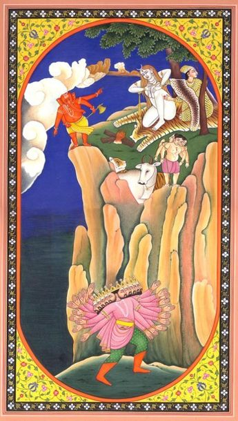Ravana Shaking Mount Kailash Specifications:  Water Color Painting On Paper  Art…