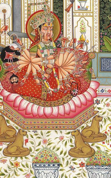 Maharaja Mansingh Worshipping Devi Specifications:  Watercolor on Paper  Artist:…