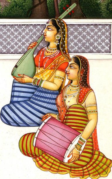 Radha and Krishna Playing the Game of Chaupara Specifications:  Water Color Pain…