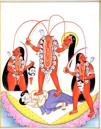 Chhinnamasta, Who Decapitates Herself to Feed Devotees Specifications:  Watercol…