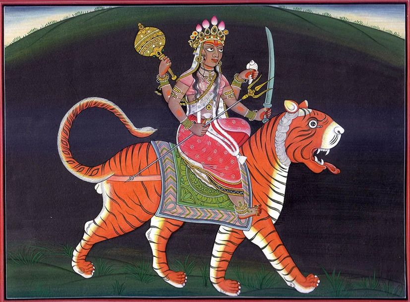 Sinha vahini Durga Specifications:  Water Color Painting on Paper  Artist: Kaila…