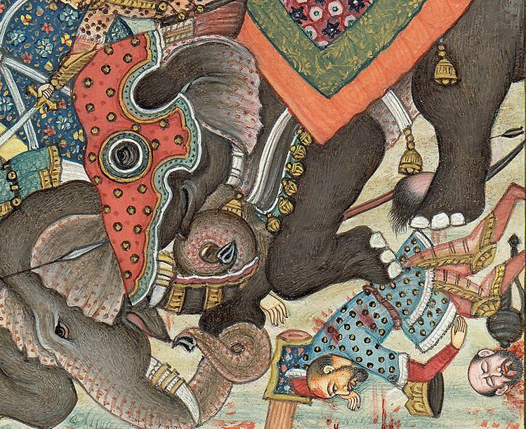 War Elephants Collide in Battle Specifications:  Watercolor Painting on Paper  A…