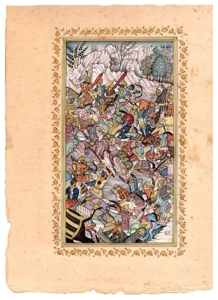Battle between the Armies of Humayun and Hamid Khan Specifications:  Watercolor …