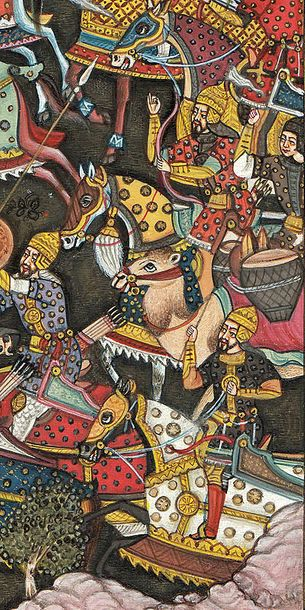 A Persian Battle Scene Specifications:  Watercolor on Paper  Artist: Navrang  6.…