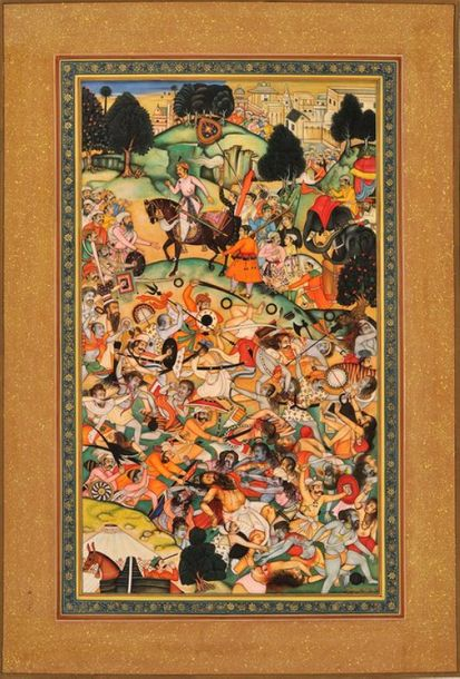 Two Groups of Ascetics Battling A miniature by Kailash Raj, a contemporary artis…