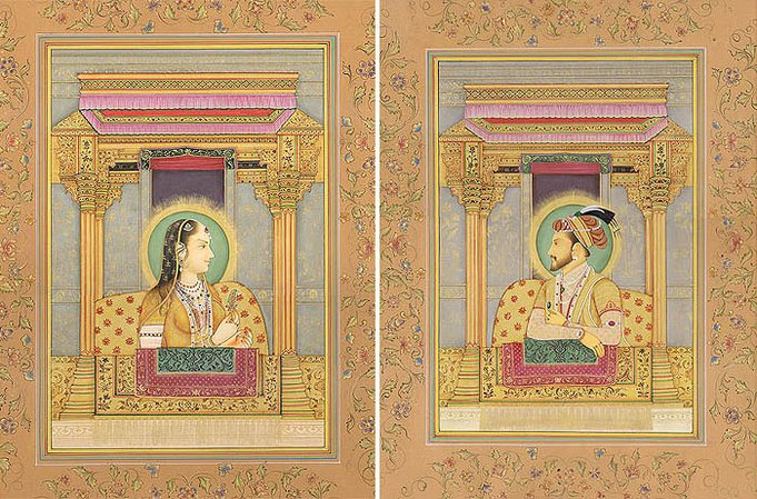 Mughal Emperor Shahjahan and Empress Mumtaj Mahal (Set of Two Paintings) Specifi…