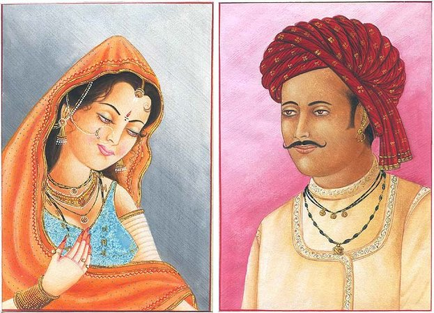 A Rajasthani Gentleman with His Shy Bride Specifications:  Watercolor on Paper  …