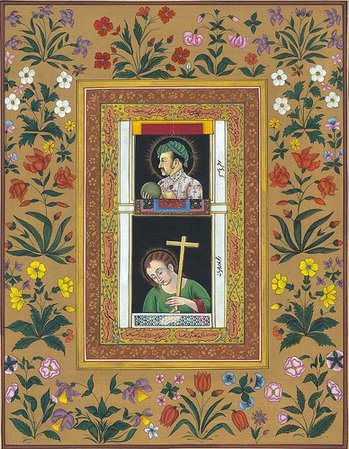 Pendant Portrait of Jahangir with Jesus Specifications:  Watercolor on Paper  8.…