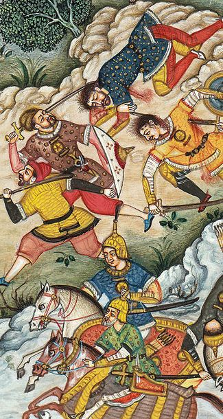 Battle Scene from the Akbarnama Specifications:  Watercolor on Paper  Artist: Na…