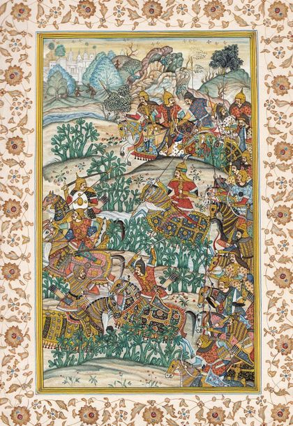 The Battle of Sarnal in Gujarat Specifications:  Watercolor on Paper  Artist: Na…