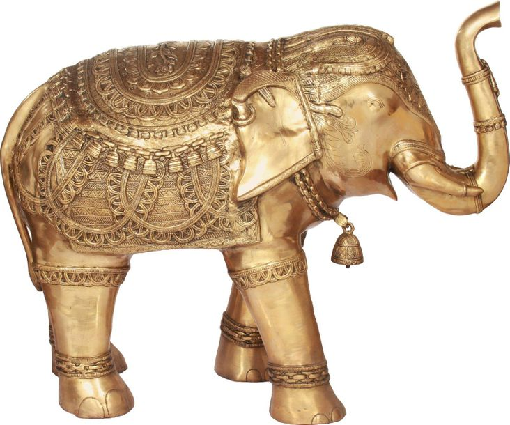 Superbly Decorated Elephant with Upraised Trunk Large Size This is the brass sta…