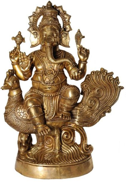 (Large Size) Mayurasan Vijay Ganapati Specifications:  Brass Statue  47.0 inch x…