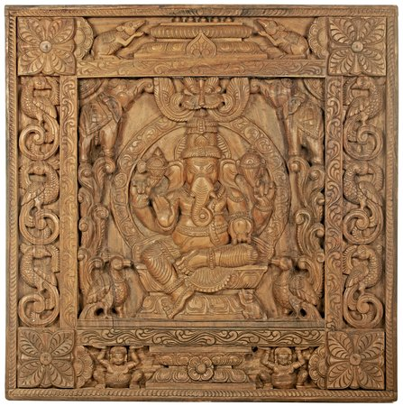 The Throne Ganesha Panel Specifications:  South Indian Temple Wood Carving  35 i…