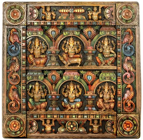 Specifications:  South Indian Temple Wood Carving  36.5 inch Height x 37 inch Wi…