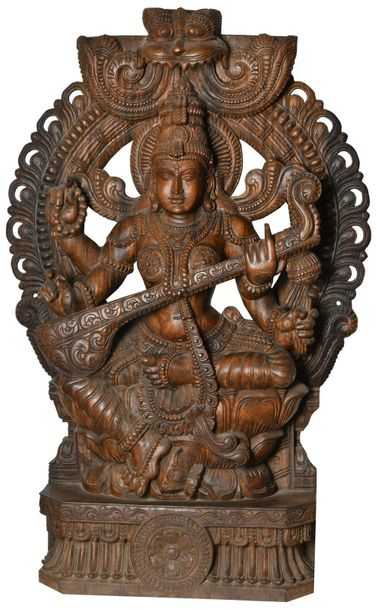 Goddess Saraswati Seated on Lotus (Large Size) Specifications:  South Indian Tem…