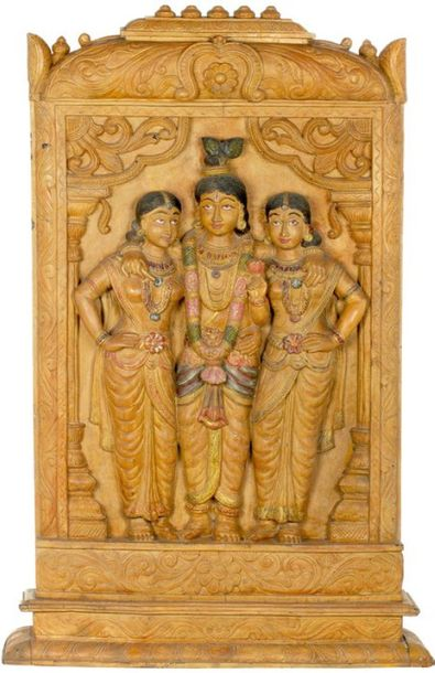 Krishna with Rukmini and Satyabhama Specifications:  Wood Carving  43 inch Heigh…