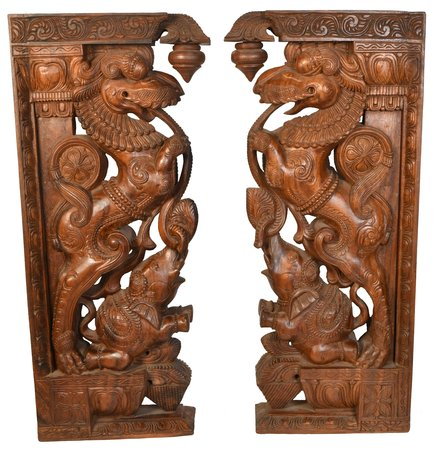 Pair of Large Size Yali Brackets Specifications:  South Indian Temple Wood Carvi…