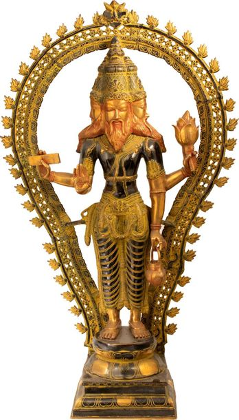 Specifications:  Brass Statue  42 inch Height x 25.5 inch Width x 10 inch Depth …