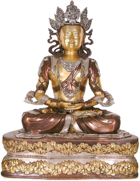 Large Size Crowned Buddha Specifications:  Brass Statue  3.4 ft x 2.3 ft x 1.4 f…