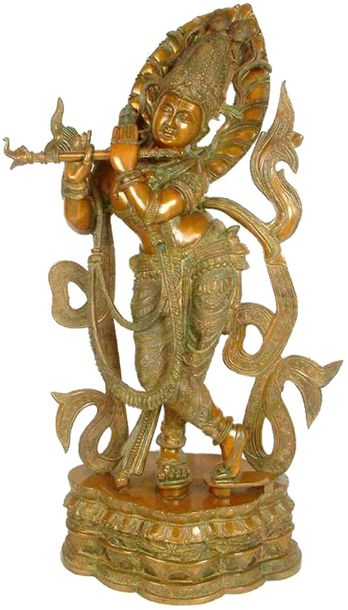 Venugopal (Flute toting Gopal) With The Majestic Crown Specifications:  Brass St…