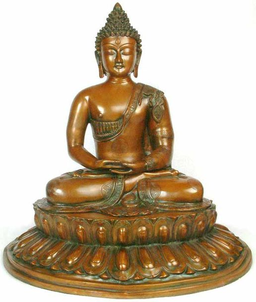 Buddha Steeped In Meditation Upon A Blooming Lotus Specifications:  Brass Statue…