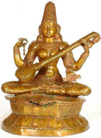 Large Size Kamalasana – Lotus Seated Saraswati Specifications:  Brass Statue  2.…