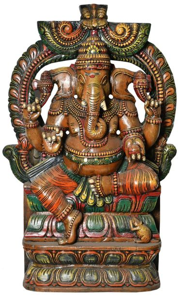 Ganesha Crowned with Kirtimukha (Large Size) Specifications:  South Indian Templ…