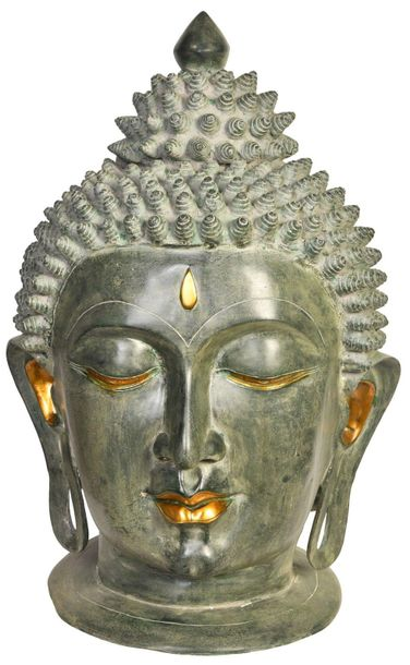 Super Large Fine Buddha Head The intricate craftsmanship of this brass piece, es…